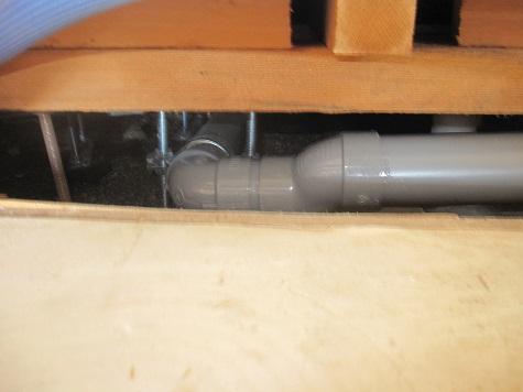 キッチン排水配管接合部