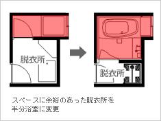 スペースに余裕のあった脱衣所を半分浴室に変更