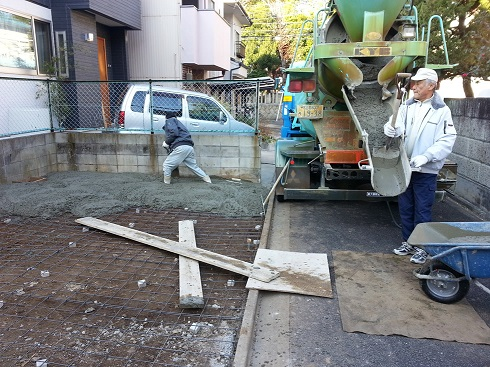 コンクリート工事施工中