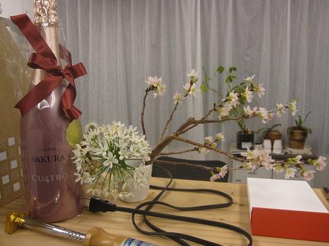 お礼のワインと桜