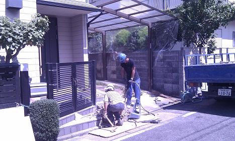 車庫の改修工事